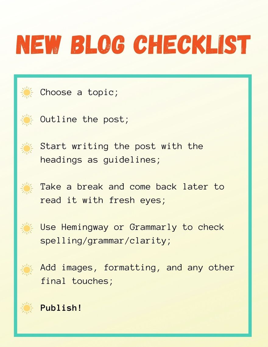The new blog checklist below in image form